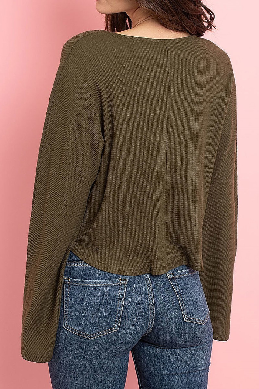 Back view of Olive Cropped Waist Tie Hem Long Sleeve Cotton V-Neck Top