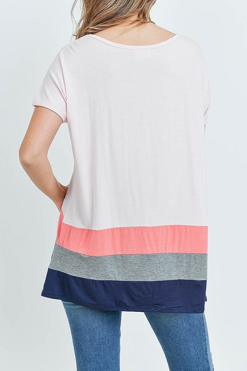 Back of Pink/Coral Striped Color Block Hem Short Sleeve Tunic