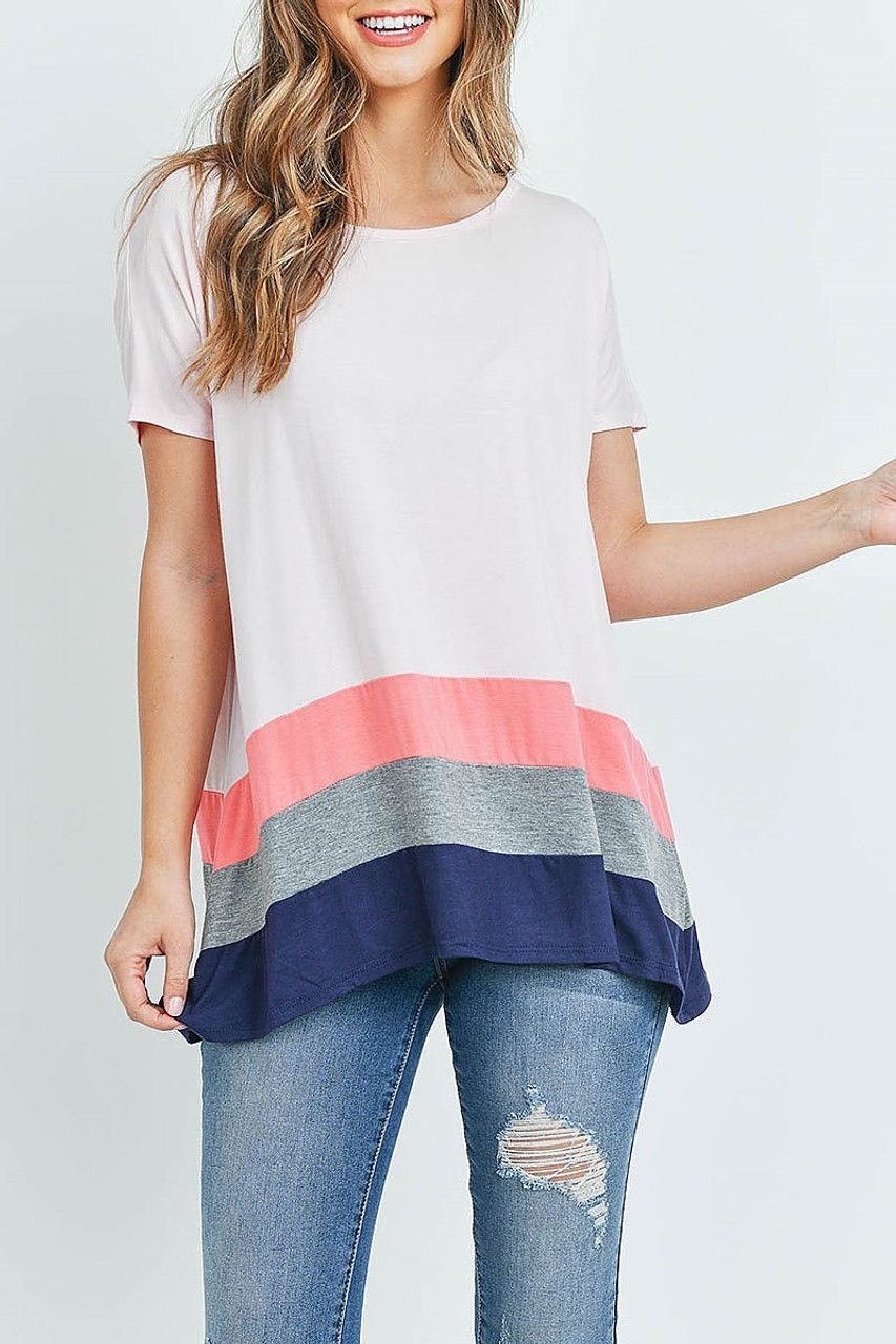 Front of Pink Coral Striped Color Block Hem Short Sleeve Tunic