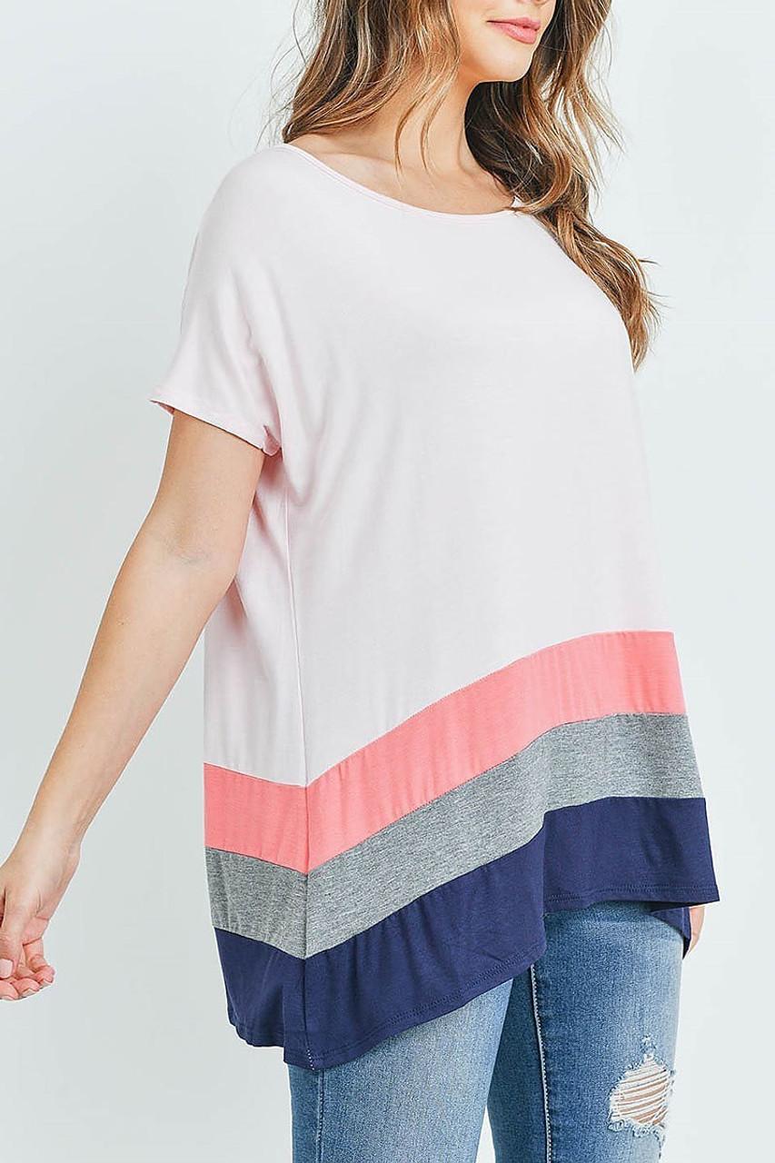 Left side of Pink/Coral Striped Color Block Hem Short Sleeve Tunic