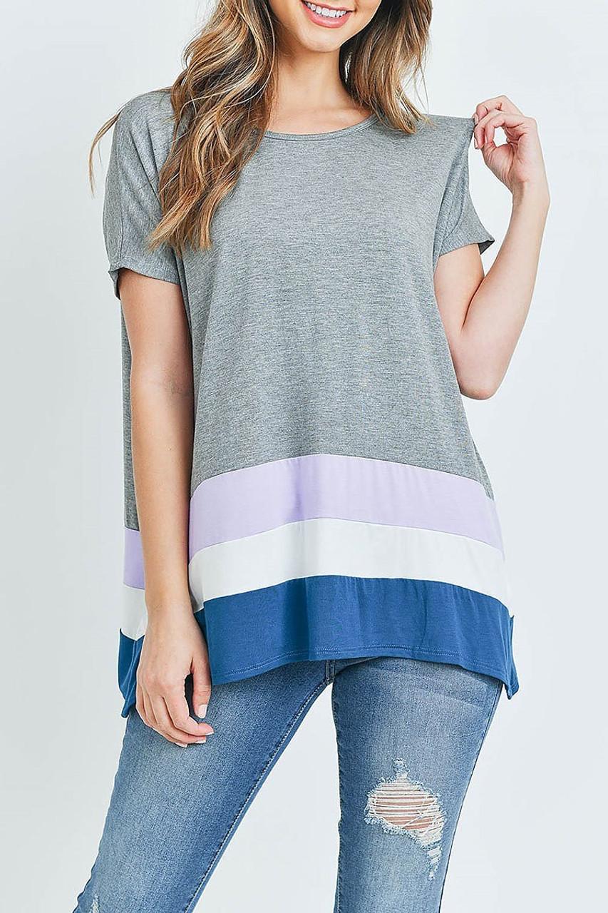 Front of Grey/Lavender Striped Color Block Hem Short Sleeve Tunic