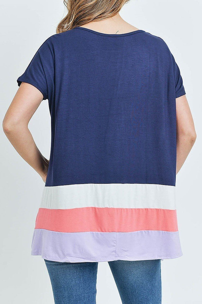 Back of Navy/Coral Striped Color Block Hem Short Sleeve Tunic