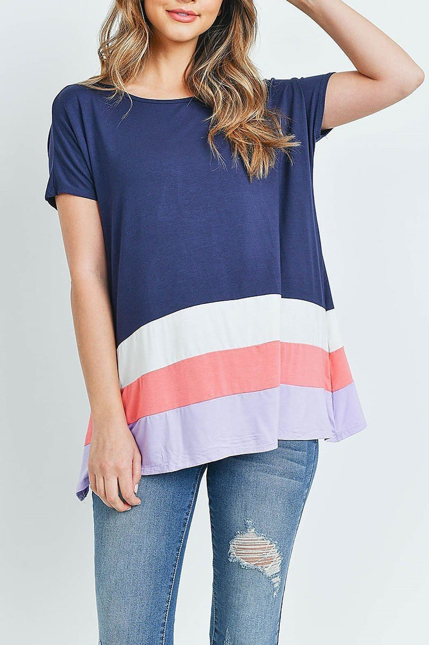Front of Navy/Coral Striped Color Block Hem Short Sleeve Tunic