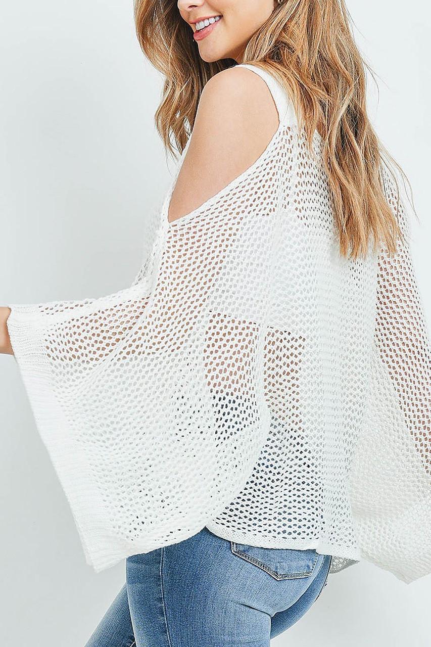 Left side of Off WhiteCrochet Wide Sleeve Cold Shoulder Top