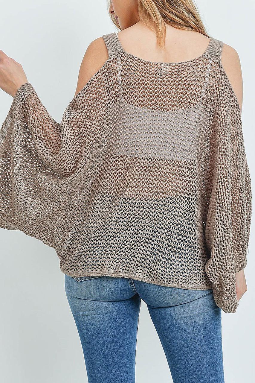 Back of Mocha Crochet Wide Sleeve Cold Shoulder Top