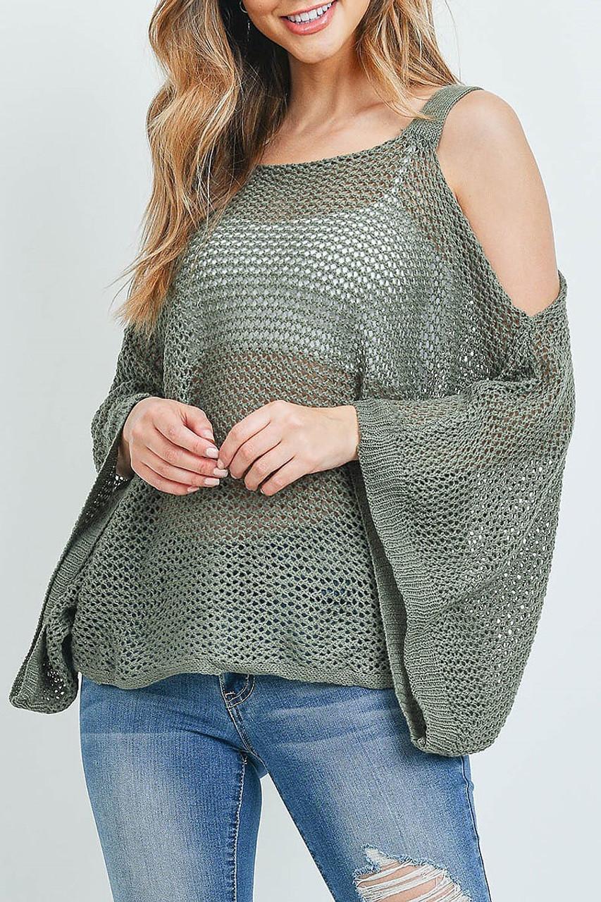 Front of Olive Crochet Wide Sleeve Cold Shoulder Top