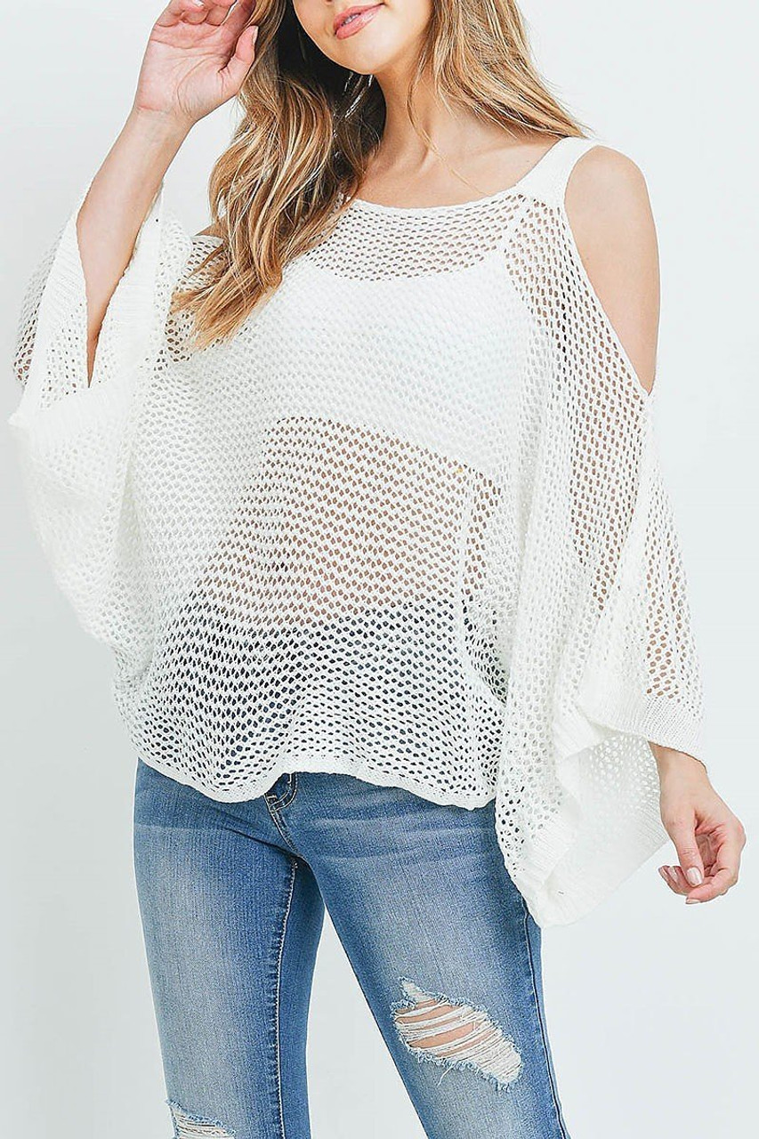 Front of Off White Crochet Wide Sleeve Cold Shoulder Top