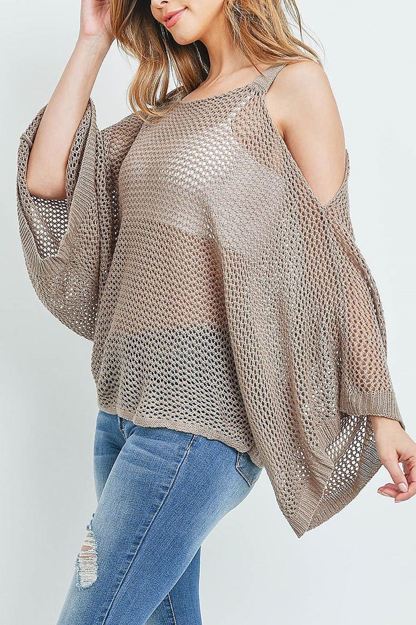 Left side of Mocha Crochet Wide Sleeve Cold Shoulder Top