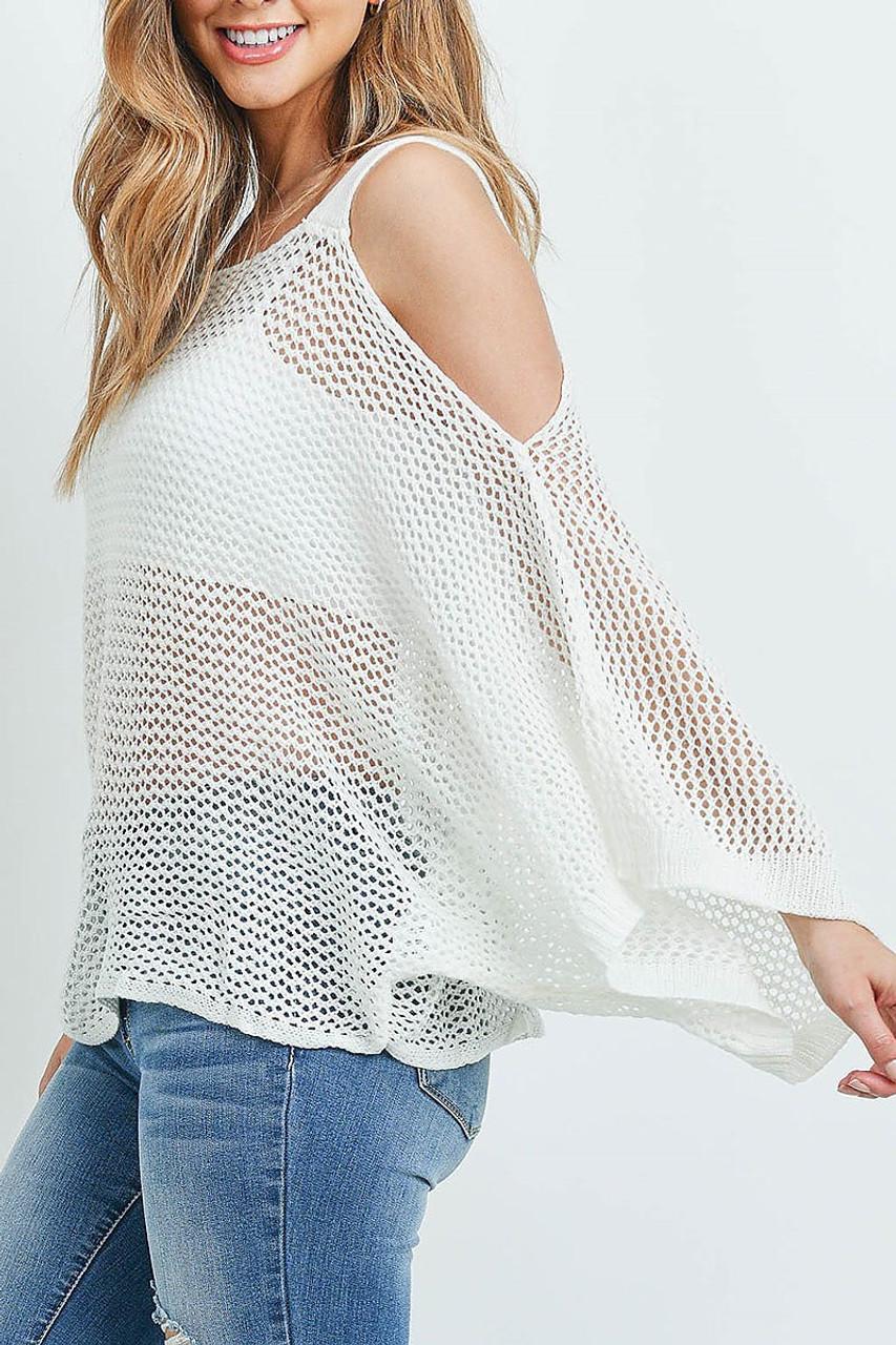 Left side of Off White Crochet Wide Sleeve Cold Shoulder Top