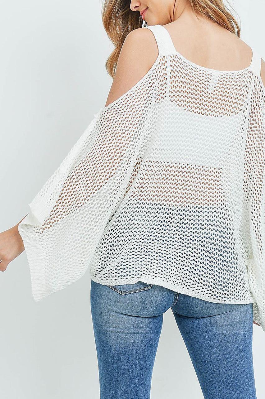 Back of Off White Crochet Wide Sleeve Cold Shoulder Top
