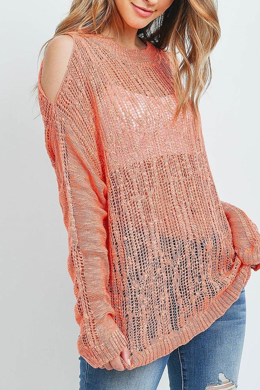 45 degree image of Coral Sheer Crochet Detail Cold Shoulder Sweater