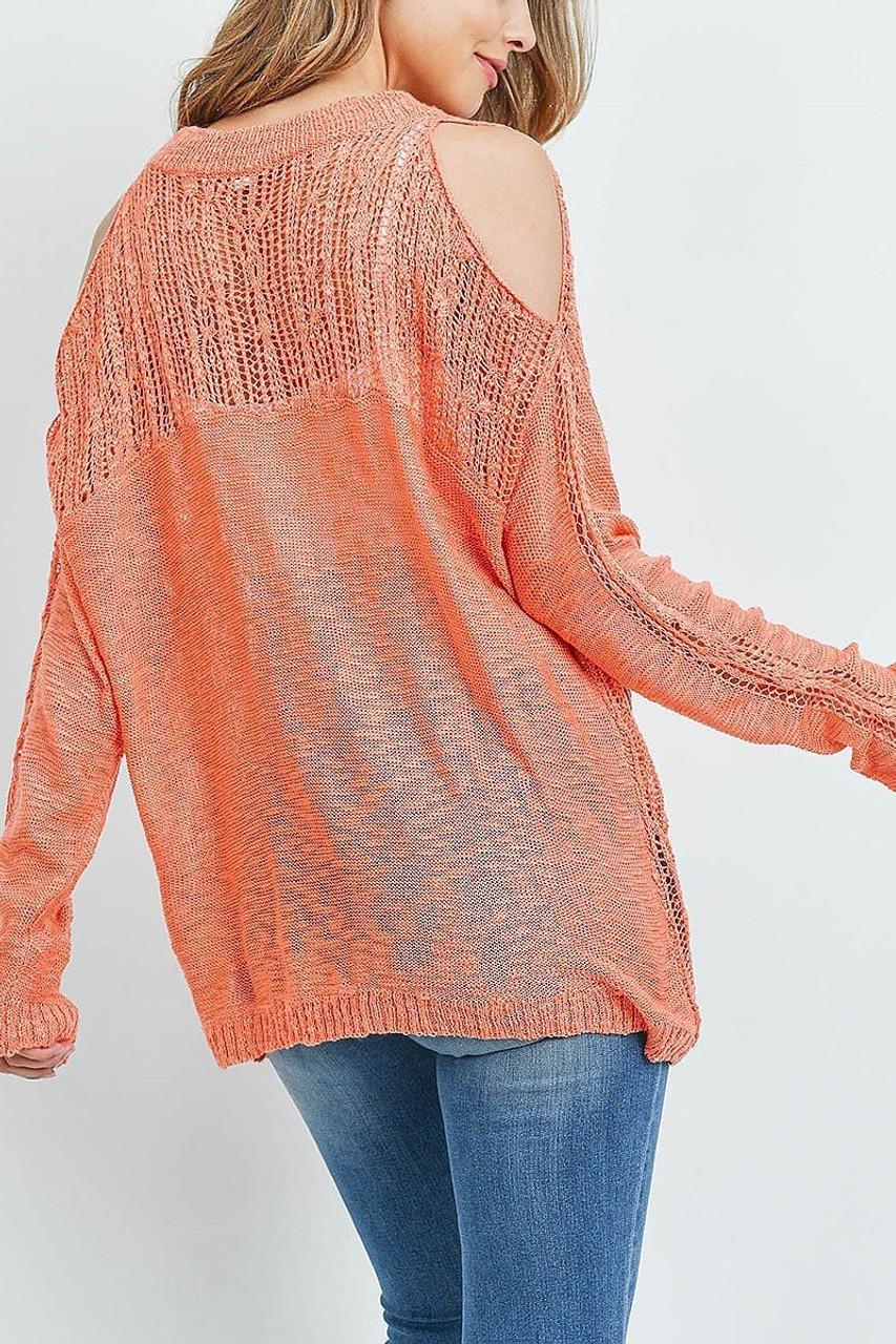 Back of Coral Sheer Crochet Detail Cold Shoulder Sweater