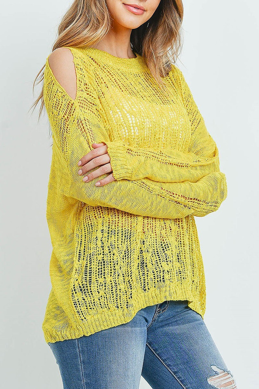 Right side of Mustard Sheer Crochet Detail Cold Shoulder Sweater