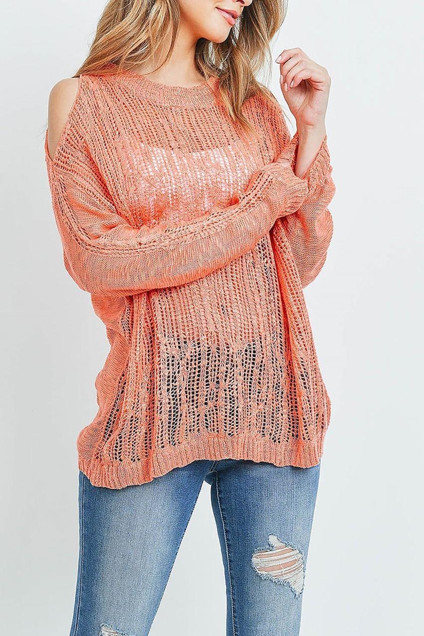 Front of Coral Sheer Crochet Detail Cold Shoulder Sweater