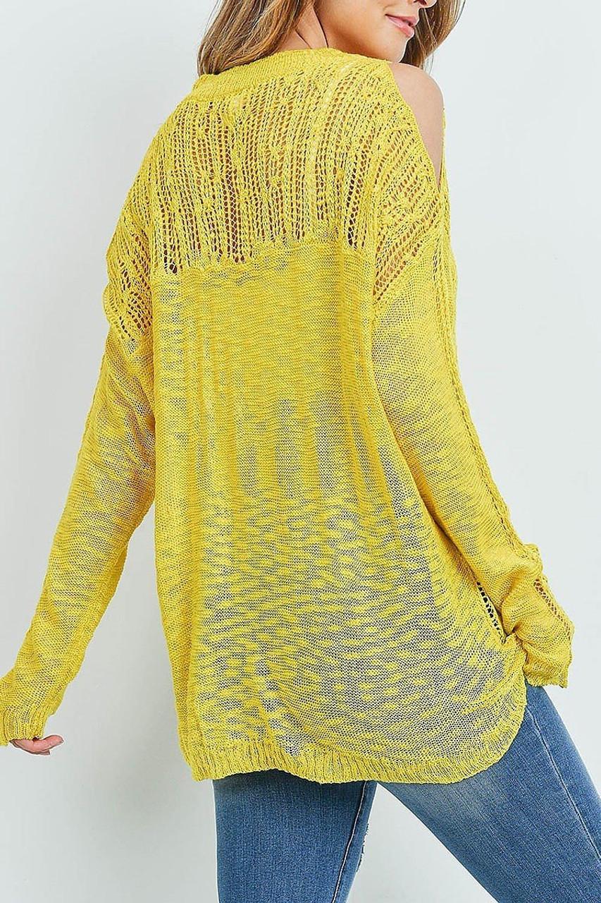 Back of Mustard Sheer Crochet Detail Cold Shoulder Sweater