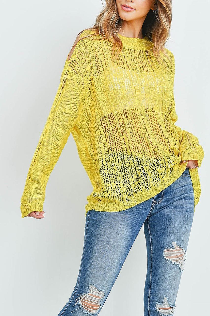Front of Mustard Sheer Crochet Detail Cold Shoulder Sweater