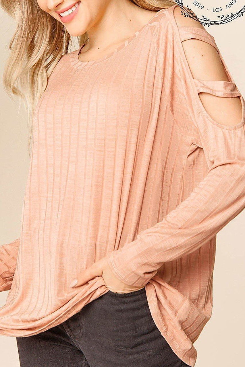 45 degree left side view of Blush Long Sleeve Shoulder Cut Out Rib Knit Top