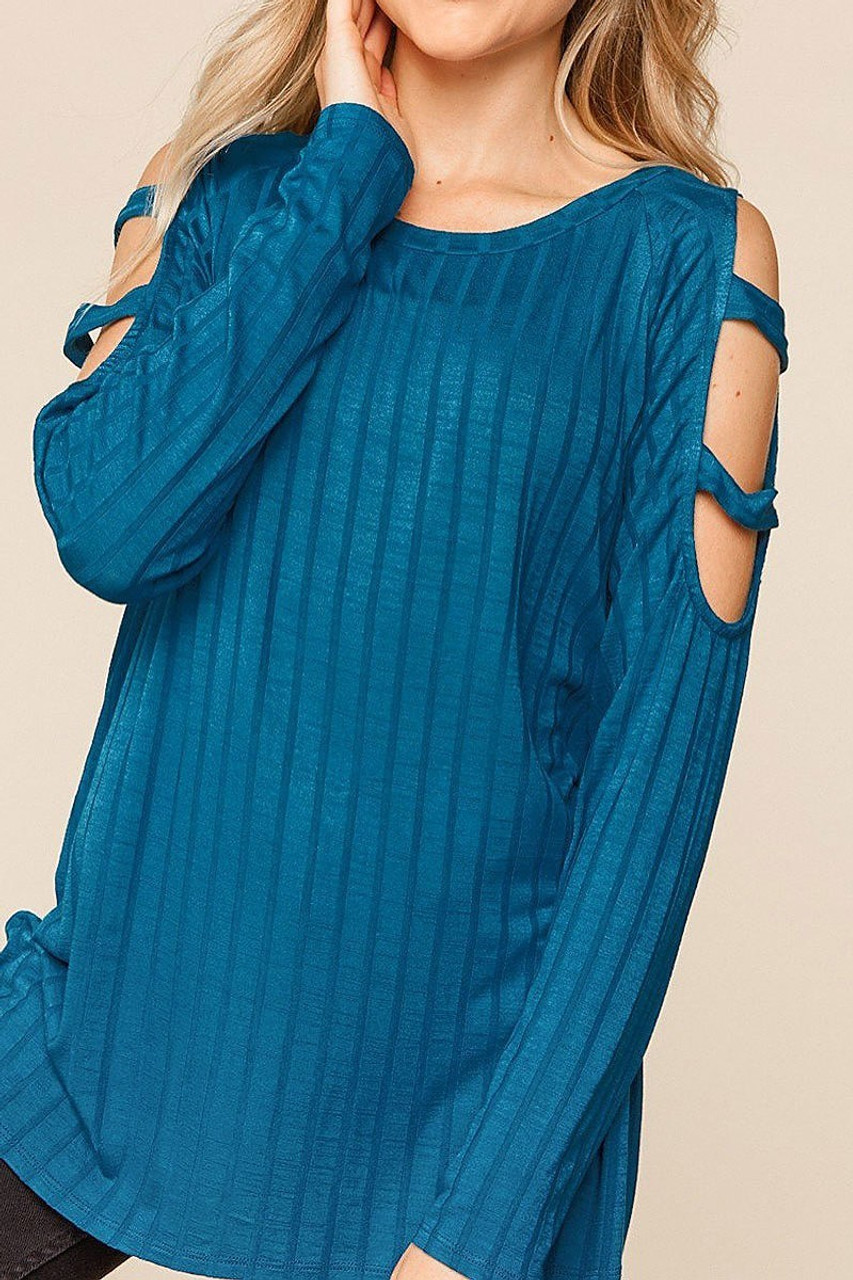 45 degree left side view of Teal Long Sleeve Shoulder Cut Out Rib Knit Top