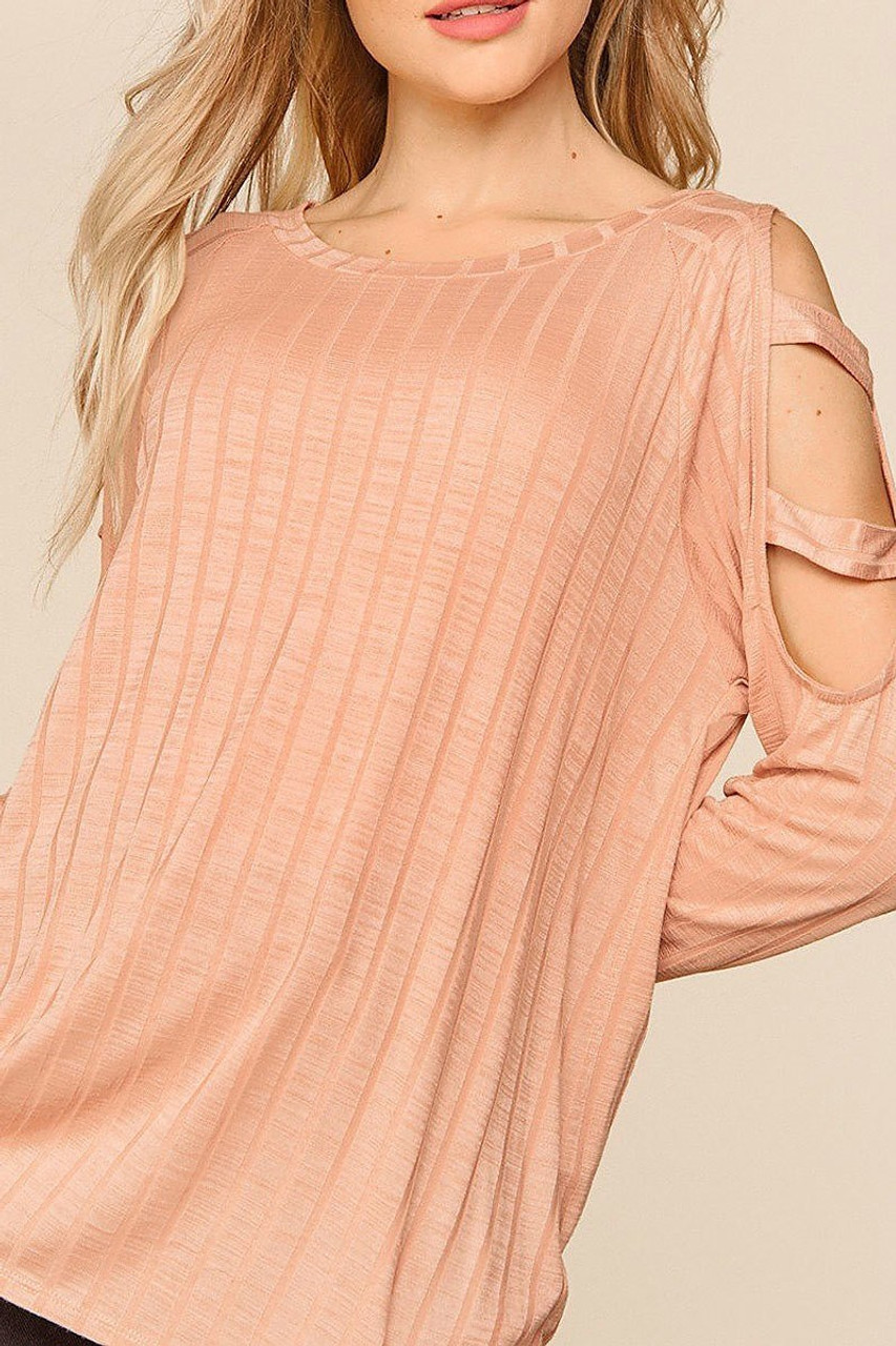 Front of Blush Long Sleeve Shoulder Cut Out Rib Knit Top