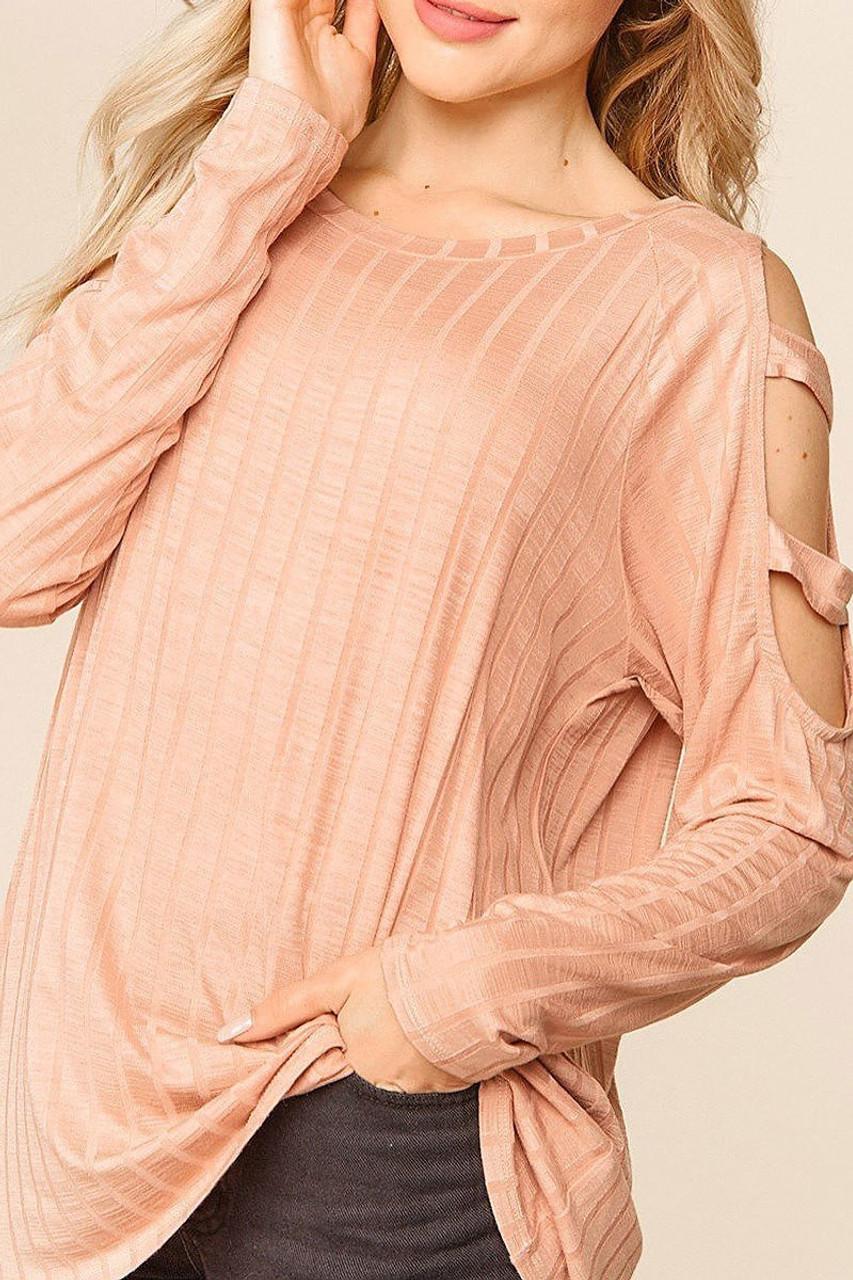 Blush Long Sleeve Shoulder Cut Out Rib Knit Top