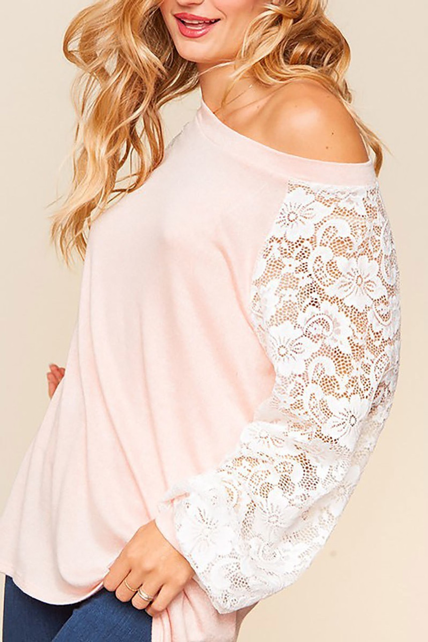 Front of Blush Lace Balloon Sleeve Pastel Contrast Top