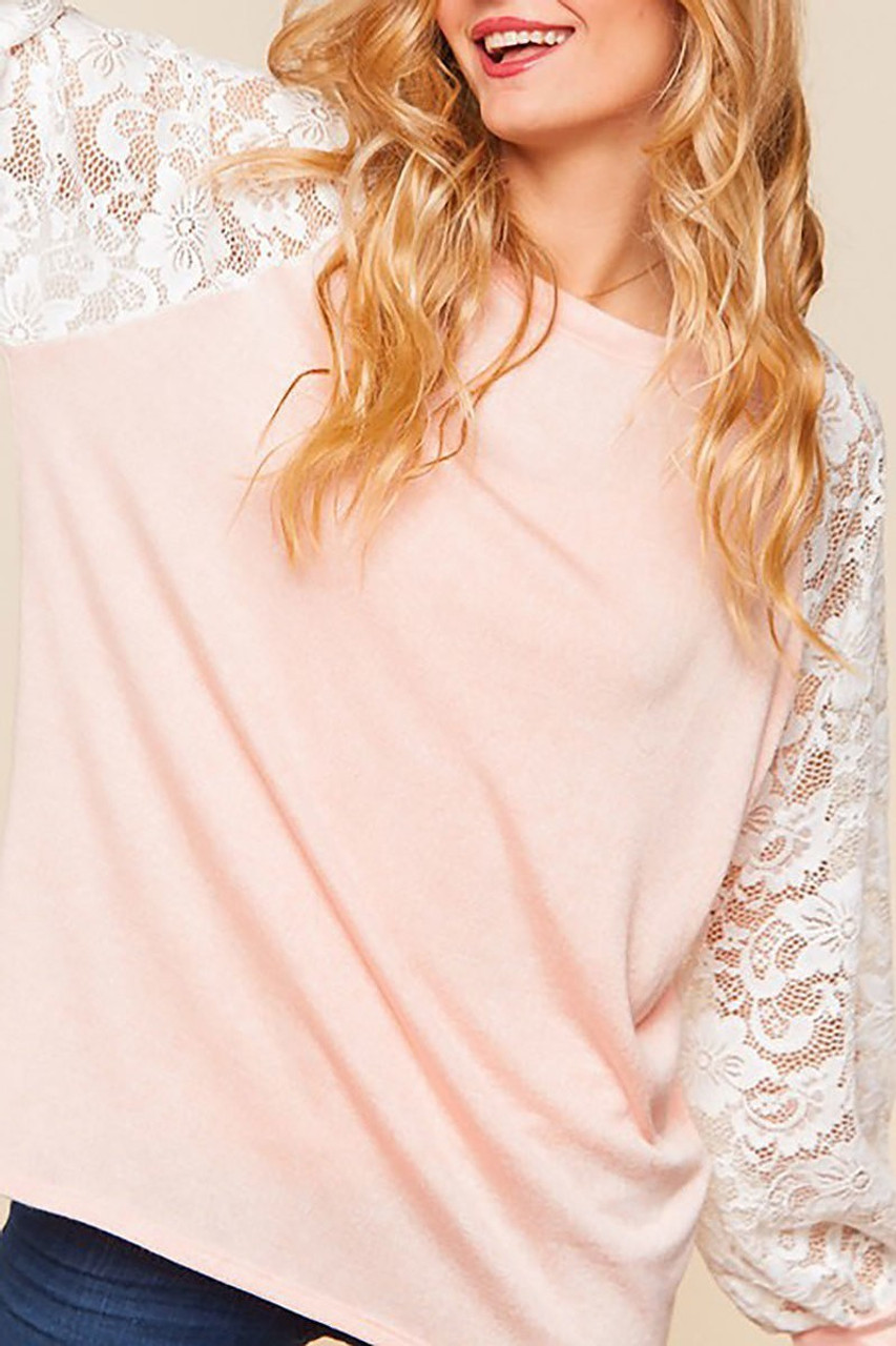 Blush Lace Balloon Sleeve Pastel Contrast Top