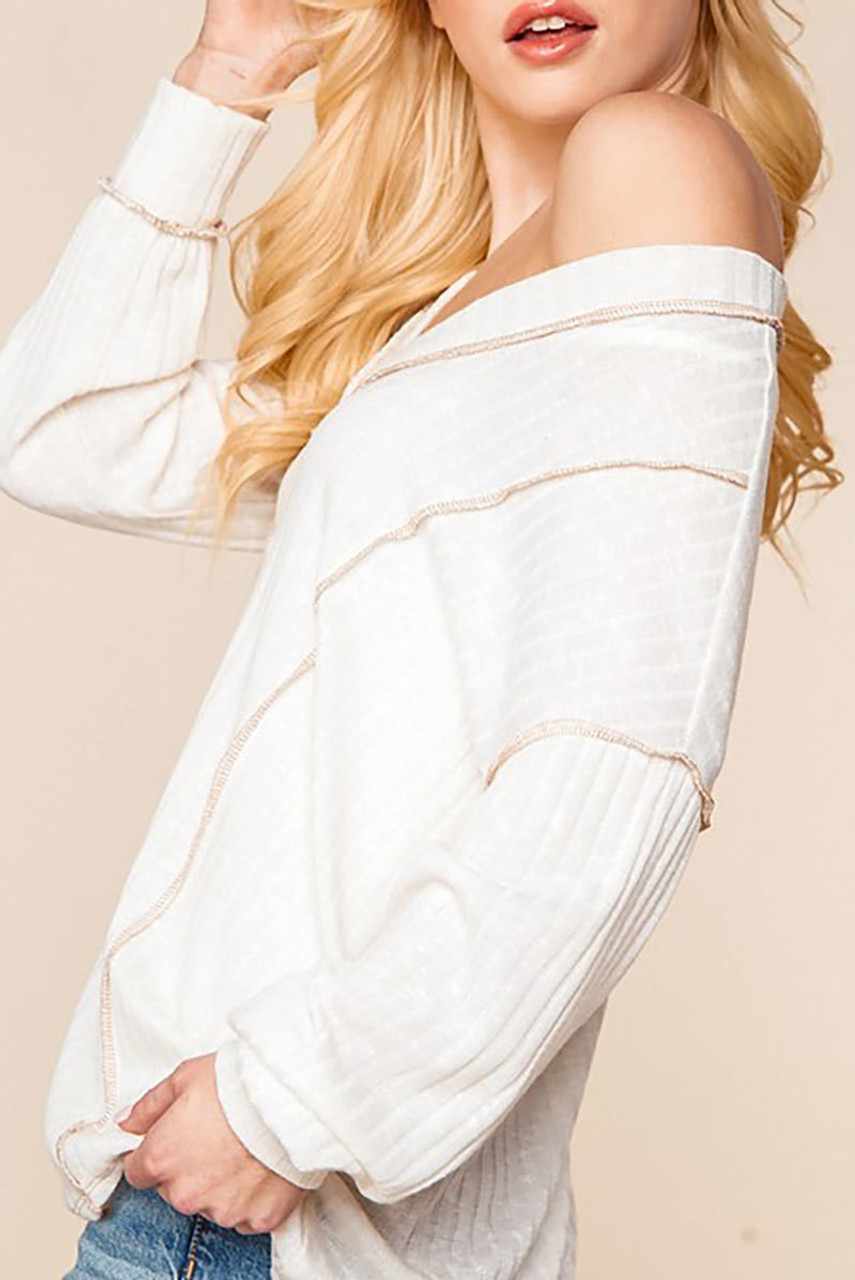 Left side of Long Sleeve Contrast Outside Seam Rib Knit V-Neck Top - Plus Size