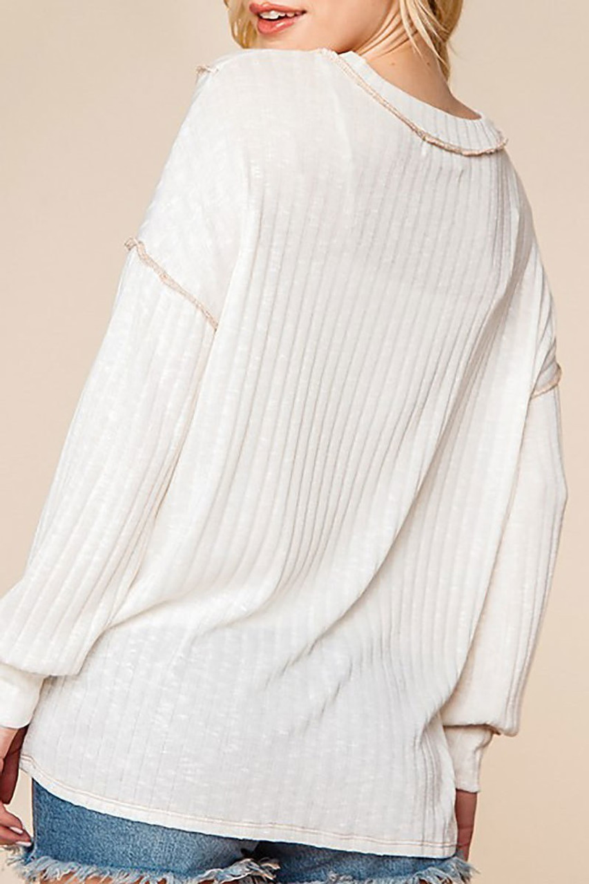 Back view of Long Sleeve Contrast Outside Seam Rib Knit V-Neck Top - Plus Size