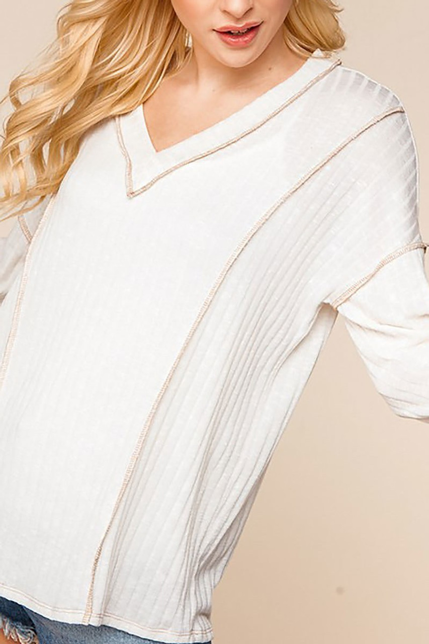Long Sleeve Contrast Outside Seam Rib Knit V-Neck Top - Plus SIze
