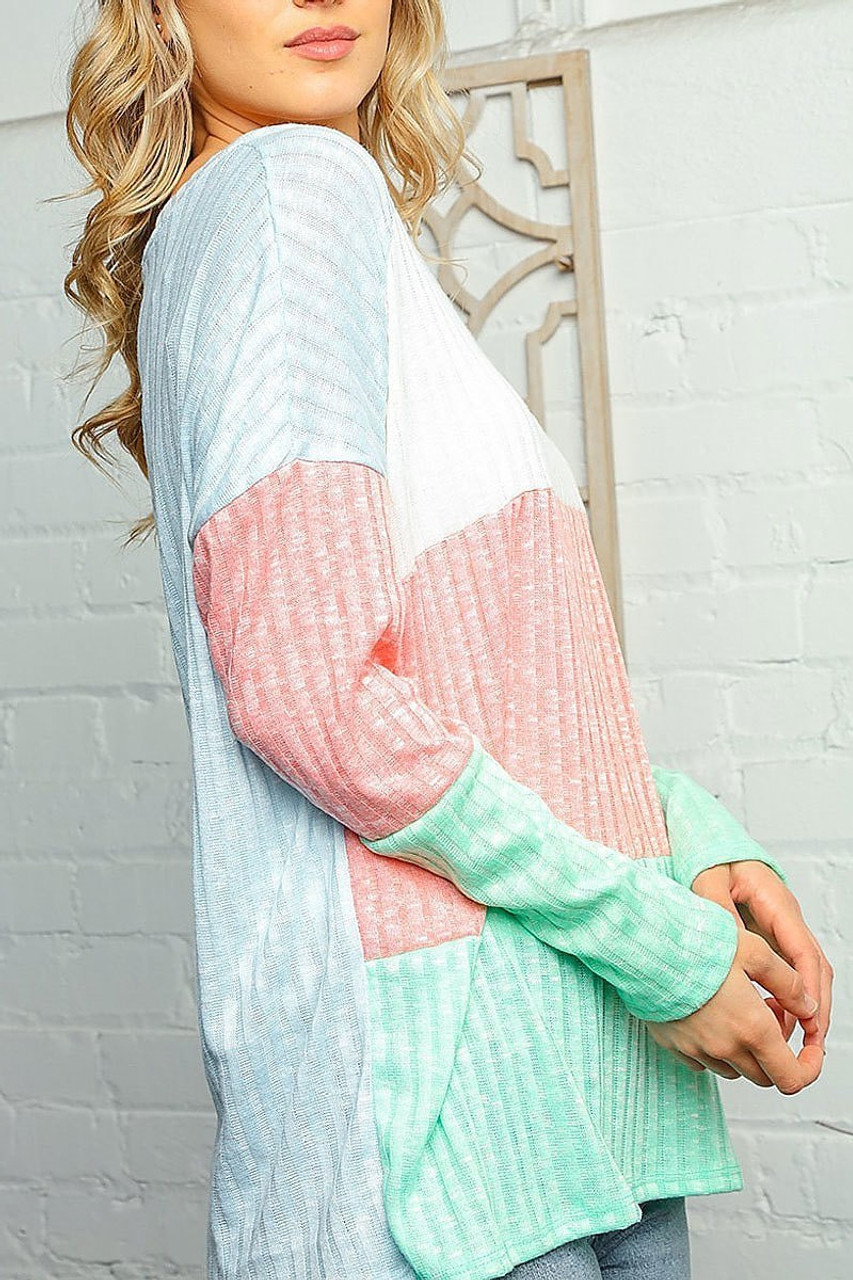 Right side of Pastel Color Block Rib Knit Long Sleeve V-Neck Top - Plus SIze