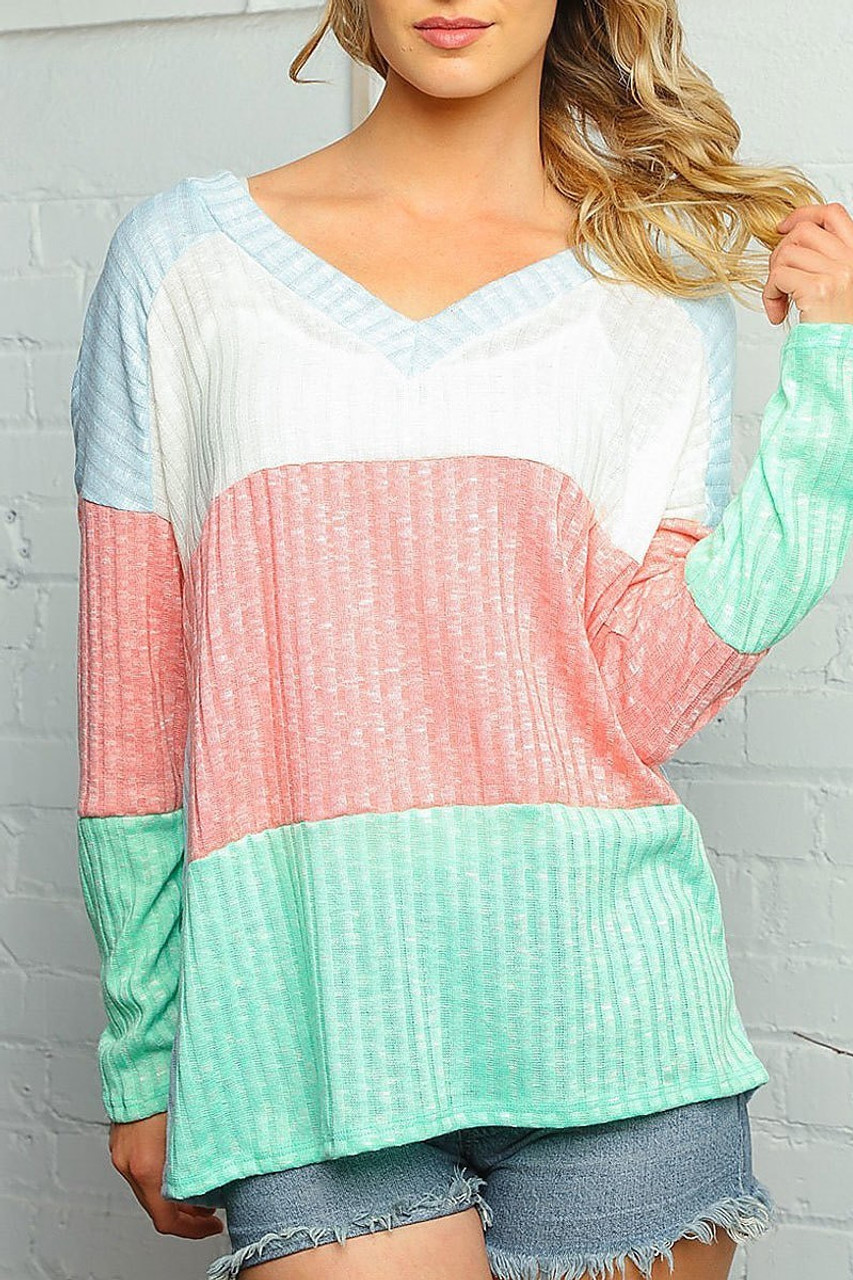 Front of Pastel Color Block Rib Knit Long Sleeve V-Neck Top - Plus Size with a fabulous mint, baby blue, and peach color blocked design.