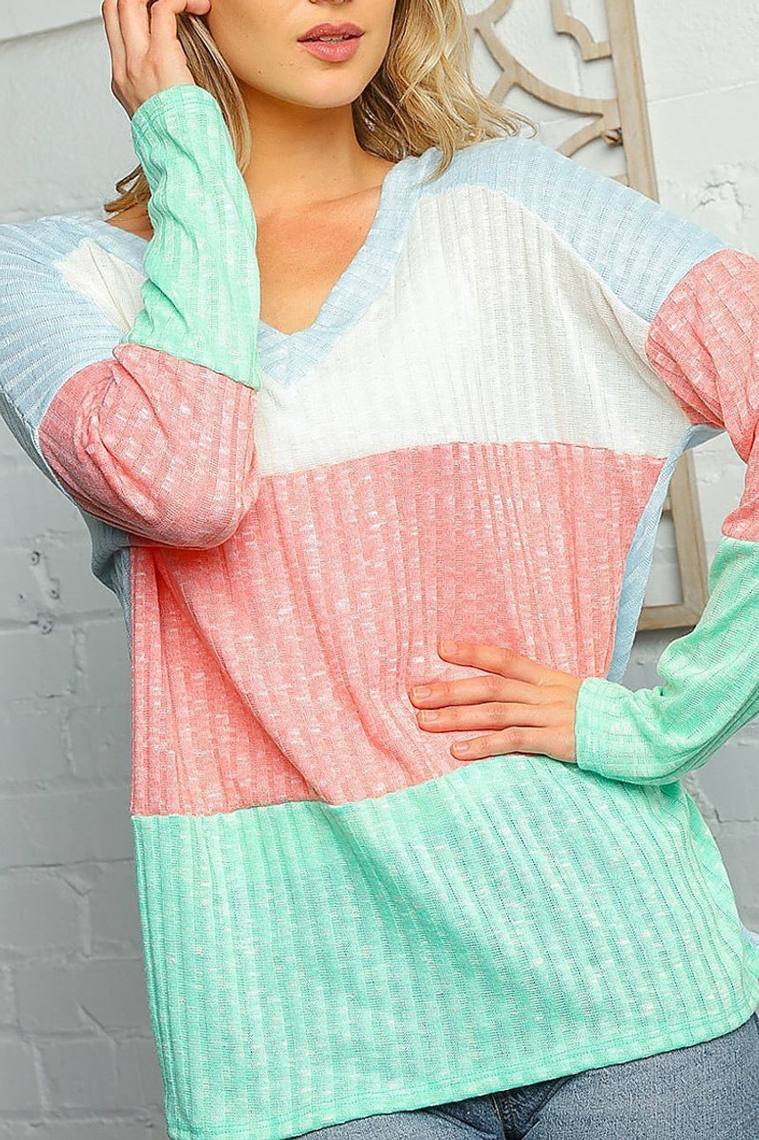 Front of Pastel Color Block Rib Knit Long Sleeve V-Neck Top - Plus SIze