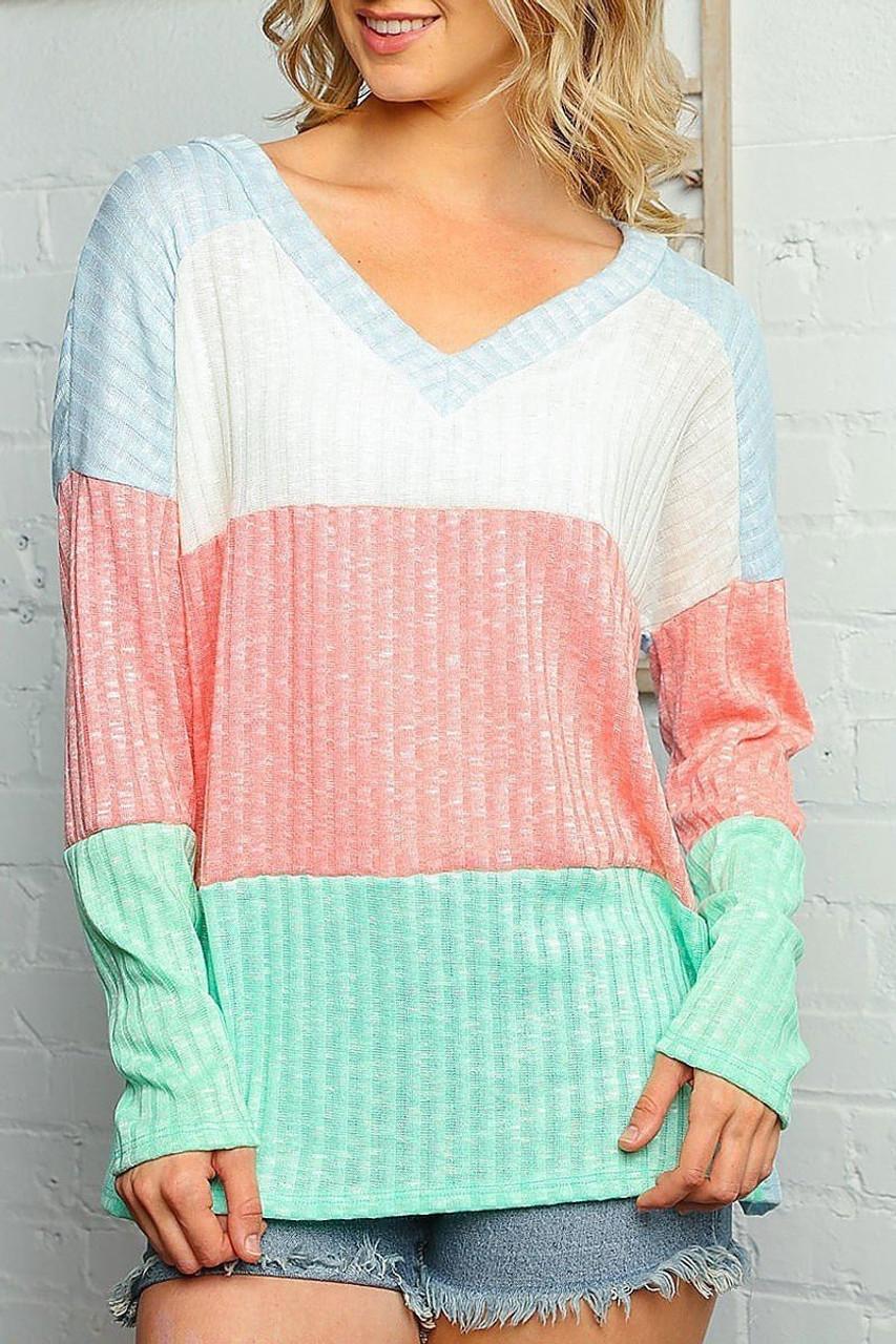 Pastel Color Block Rib Knit Long Sleeve V-Neck Top - Plus SIze