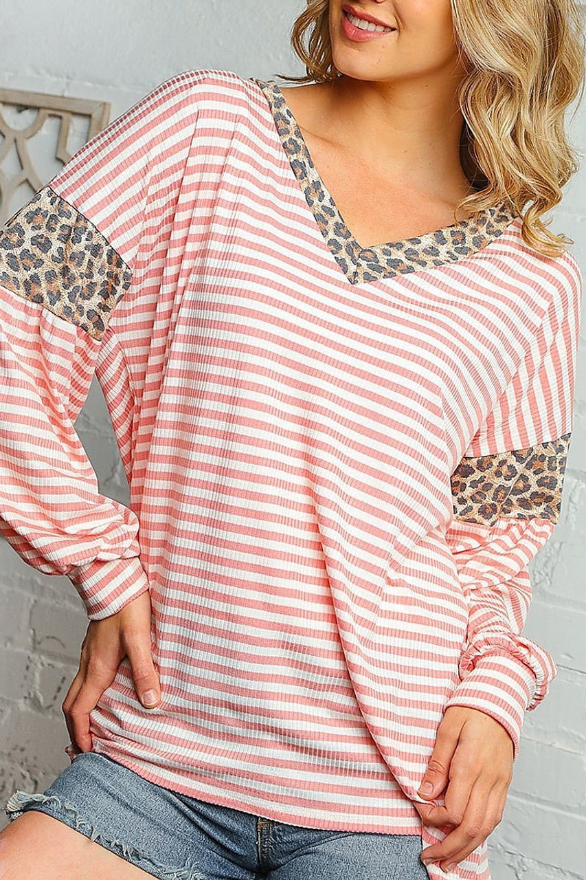 Front of Blush Pink Striped Leopard Print Accent Long Sleeve V-Neck Top - Plus Size