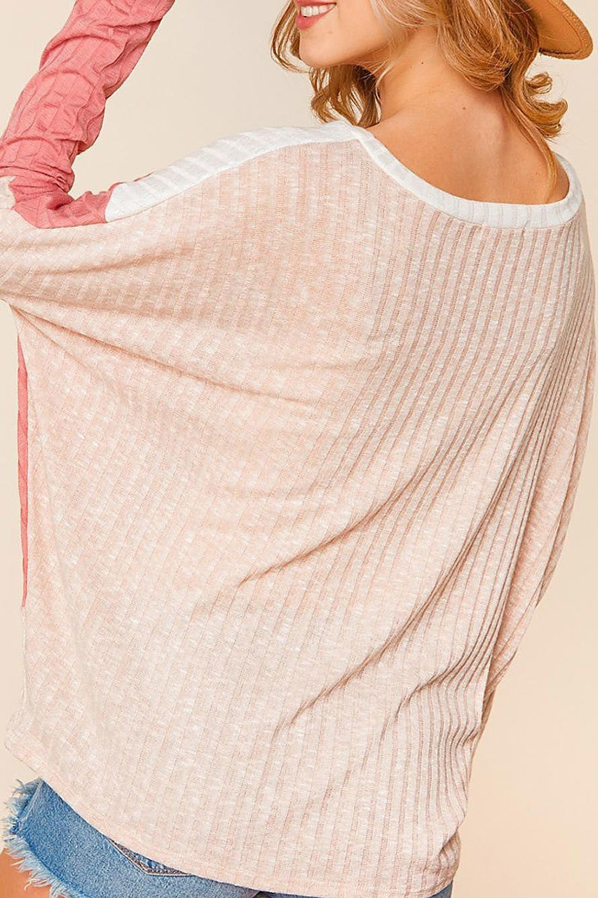 Rear view of Angular Color Block Rib Knit Plus Size Dolman Sleeve Top with an all taupe back.