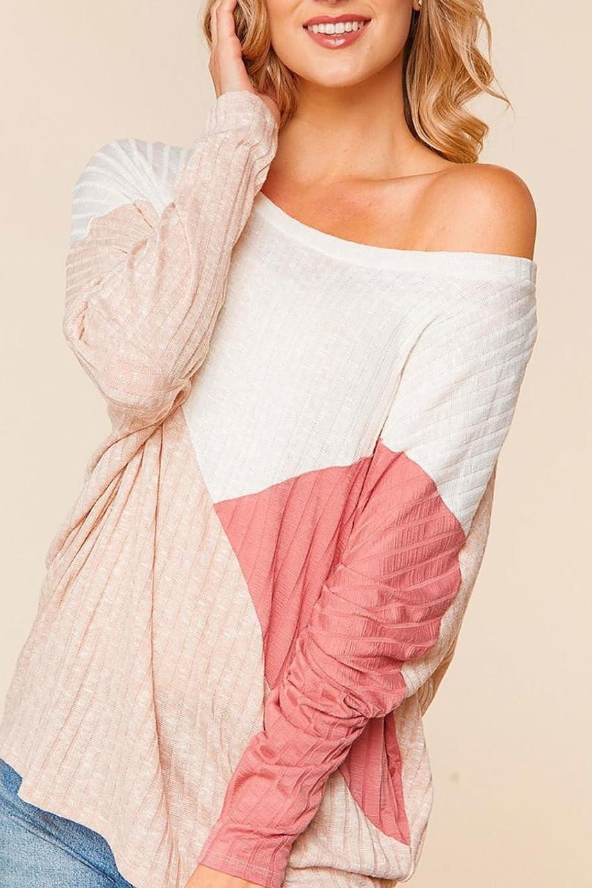 Angular Color Block Rib Knit Plus Size Dolman Sleeve Top