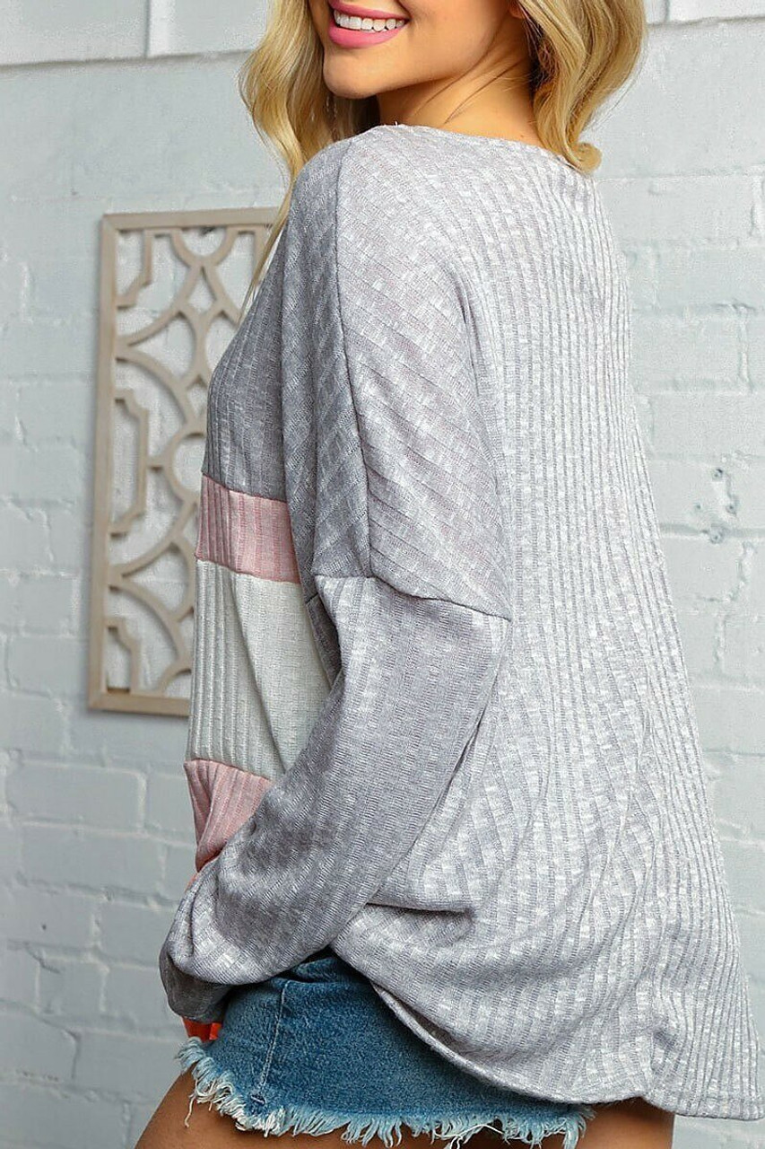 Rear view of Grey and Rose Color Block Ribbed Long Sleeve V Neck Top - Plus Size showing a solid heather gray back.