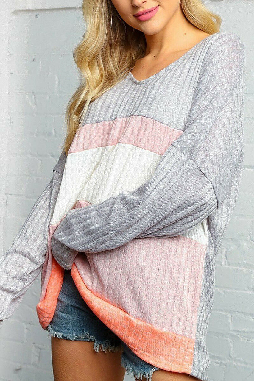 45 degree view of Grey and Rose Color Block Ribbed Long Sleeve V Neck Top - Plus Size with a color blocked striped front.
