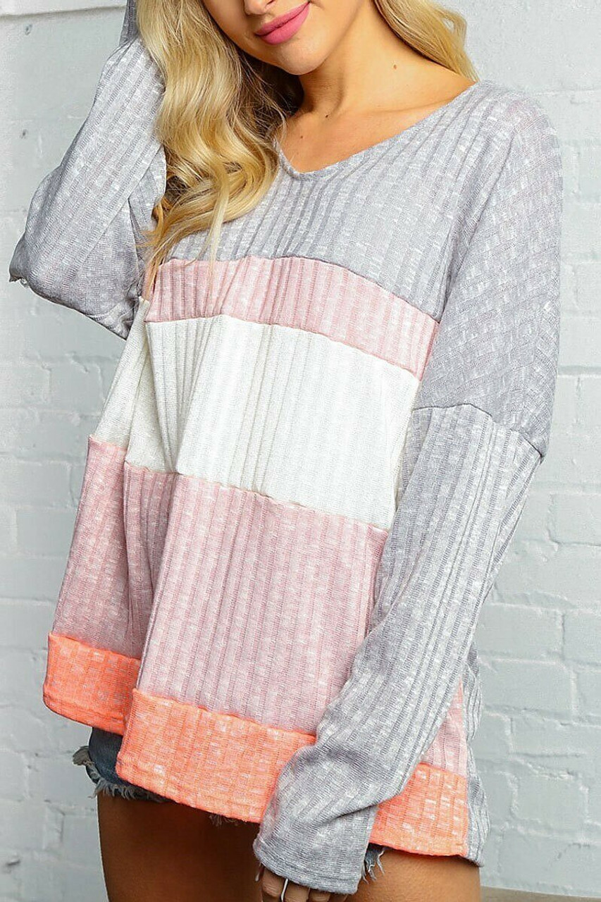 Partially turned left side of Grey and Rose Color Block Ribbed Long Sleeve V Neck Top - Plus Size