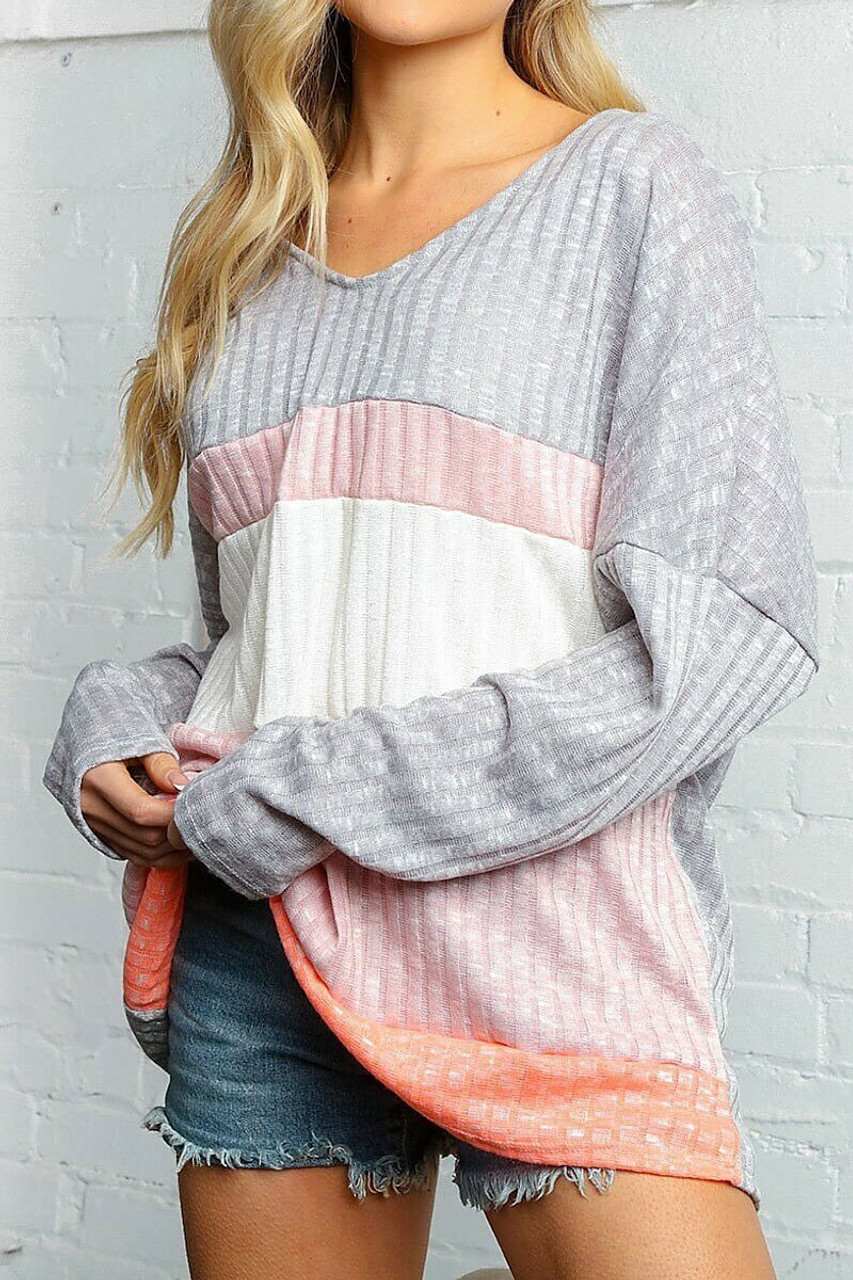 Front of Grey and Rose Color Block Ribbed Long Sleeve V Neck Top - Plus Size shown styled with denim shorts.