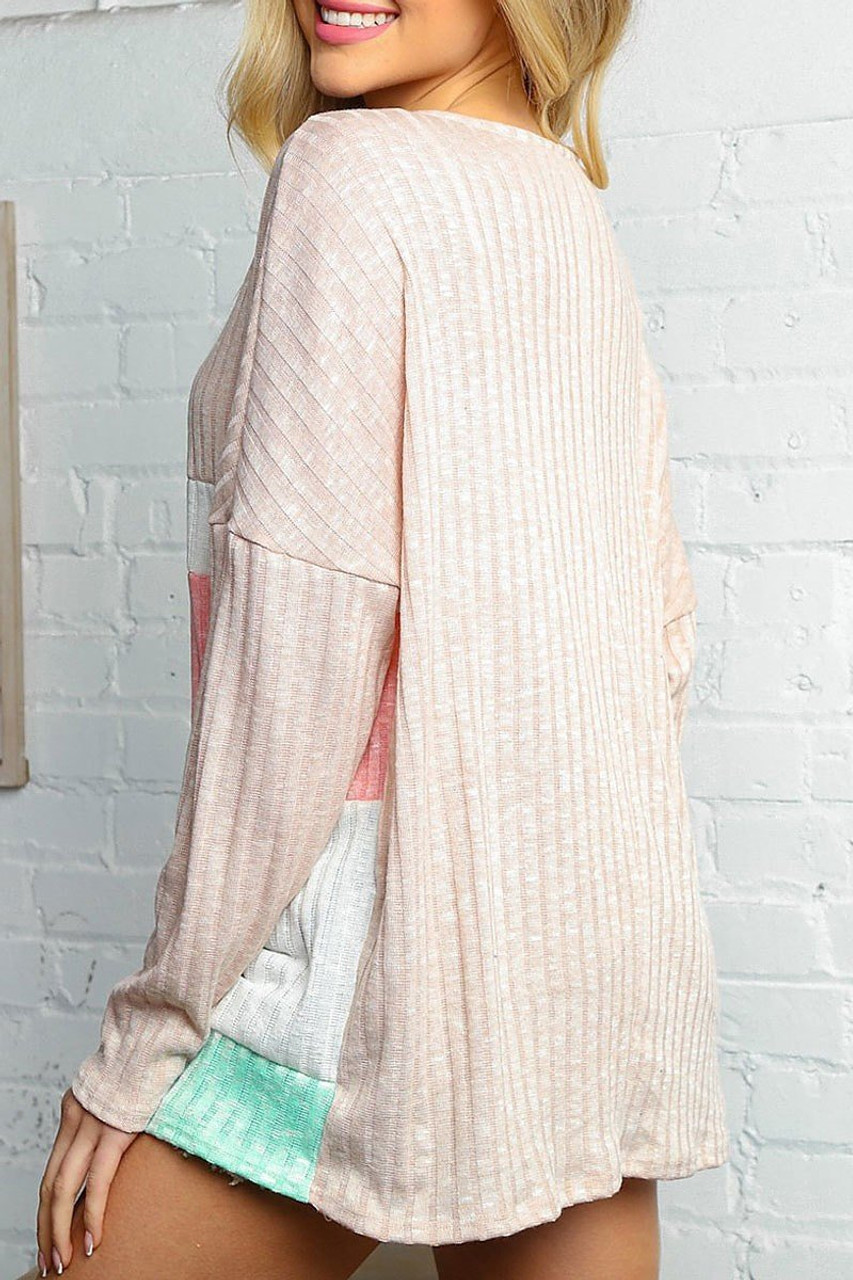 Rear image of Taupe and Peach Color Block Ribbed Long Sleeve V Neck Top  featuring a solid taupe back