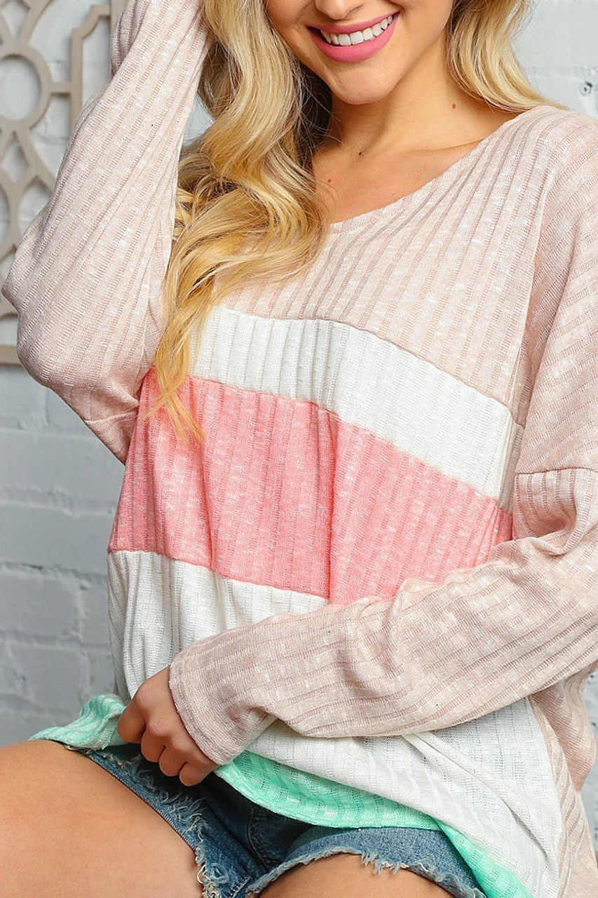 Taupe and Peach Color Block Ribbed Long Sleeve V Neck Top shown paired with denim shorts.