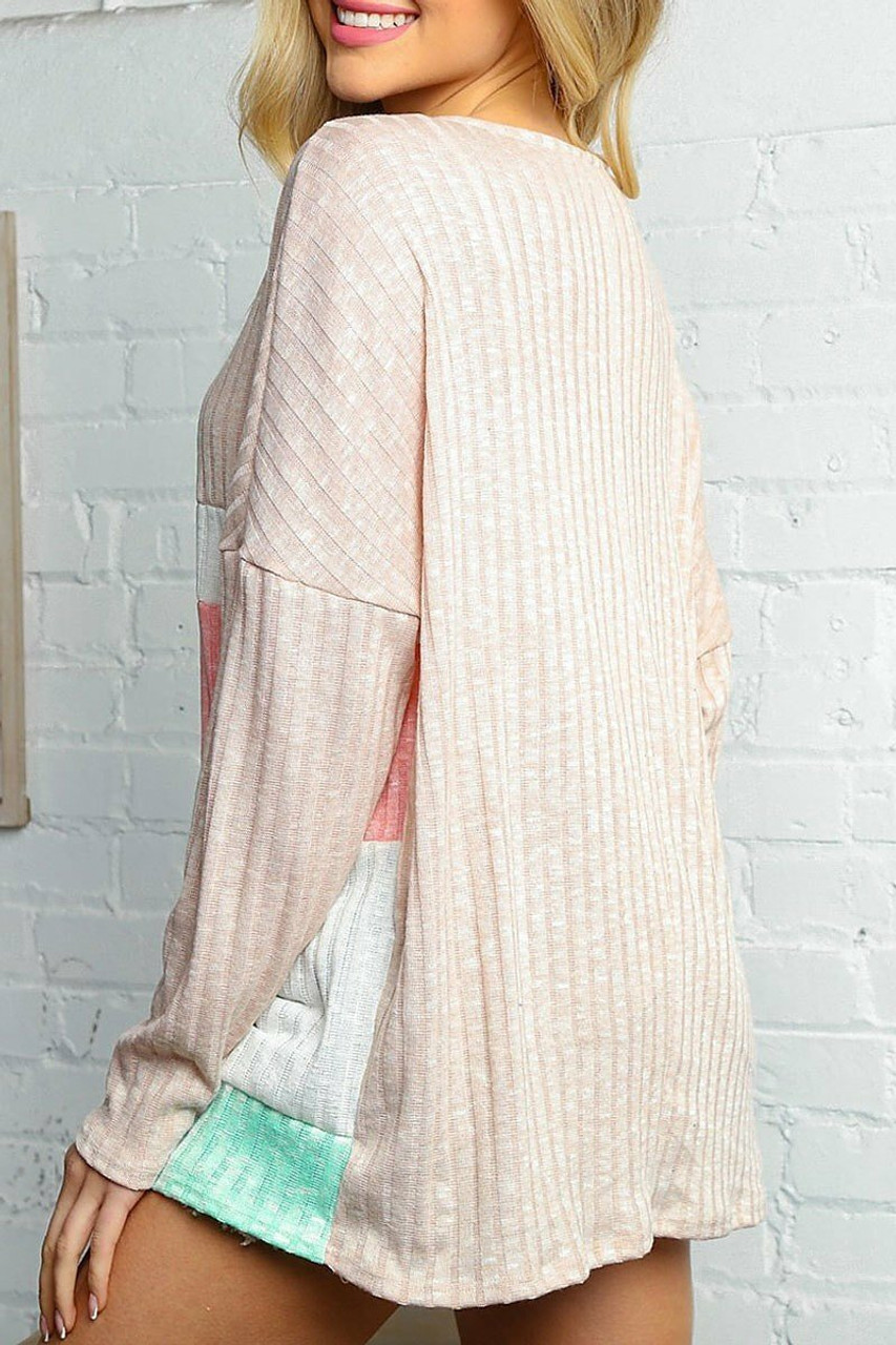 Rear image of Taupe and Peach Color Block Ribbed Long Sleeve V Neck Top - Plus Size featuring a solid taupe back