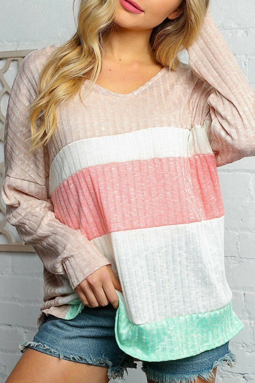 Front of Taupe and Peach Color Block Ribbed Long Sleeve V Neck Top - Plus Size.