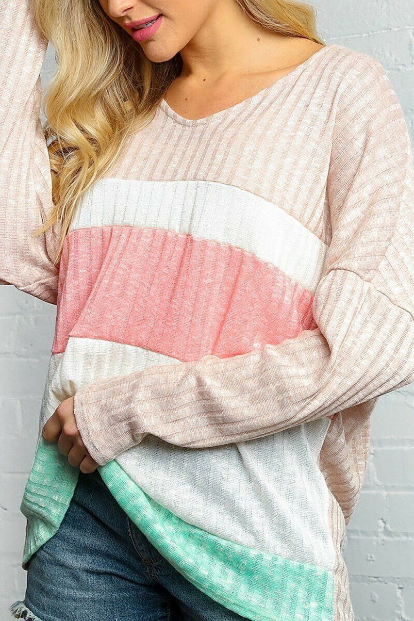 Taupe and Peach Color Block Ribbed Long Sleeve V Neck Top - Plus Size shown paired with denim shorts.