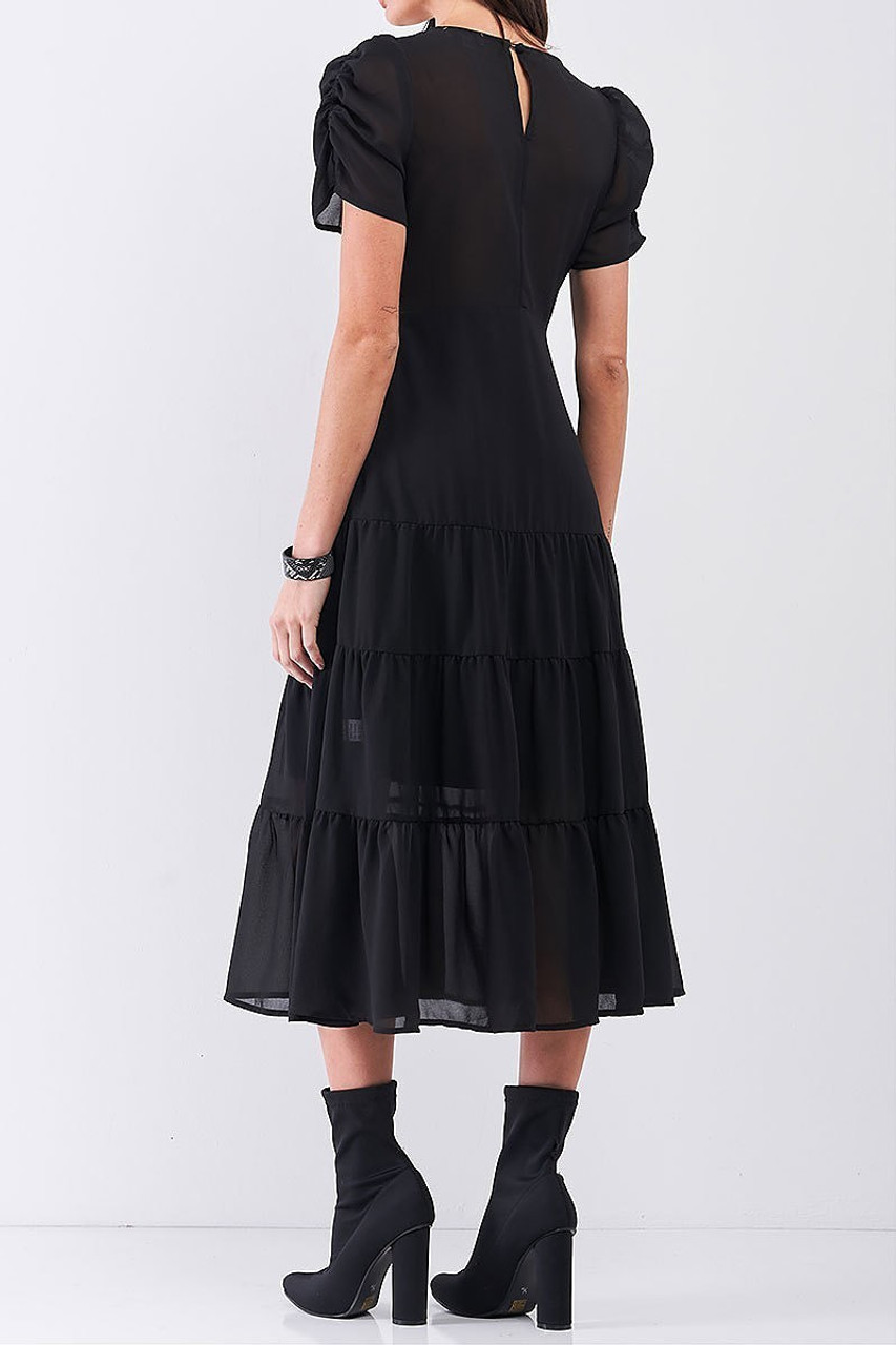 Back view of Ruched Puff Sleeve Tiered Hem V-Neck Midi Dress
