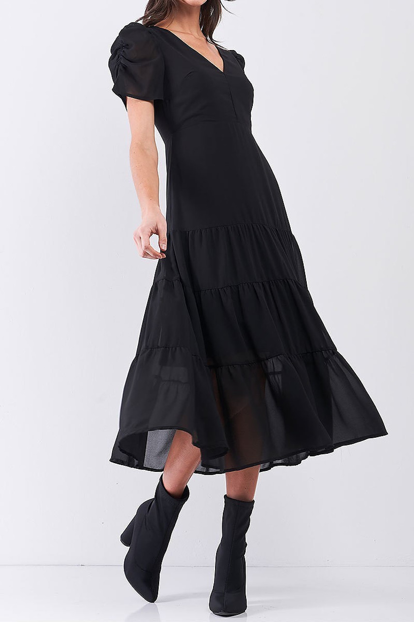 45 degree view of solid black Ruched Puff Sleeve Tiered Hem V-Neck Midi Dress