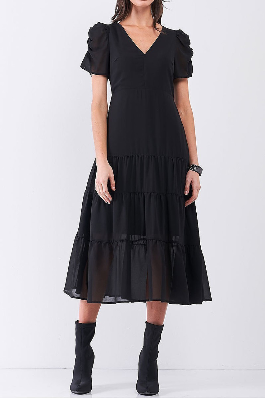 Front view of Ruched Puff Sleeve Tiered Hem V-Neck Midi Dress shown styled with black booties.