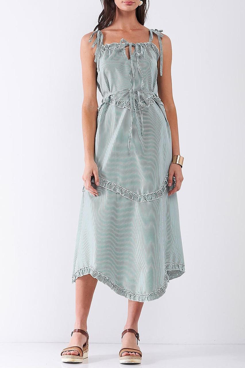Front of Green Ruffle Accent Striped Tie String Wavy Hem Midi Dress