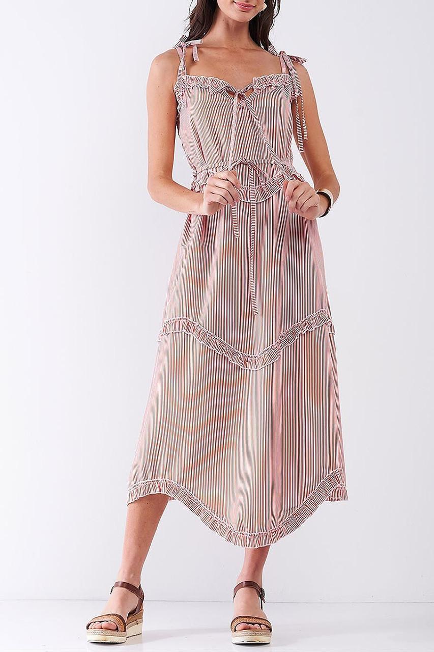 Front of Orange Ruffle Accent Striped Tie String Wavy Hem Rayon Midi Dress